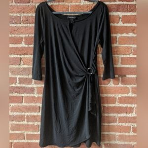 WHBM Black Faux Wrap Dress w Keyhole & 3/4 sleeves